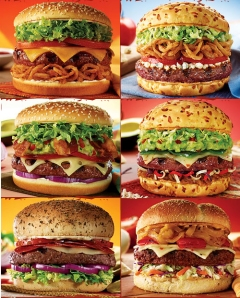 "Some of Red Robin's luscious gourmet burgers (clockwise, from top left): Whiskey River BBQ, Bleu Ribbon (my choice), Santa Fe, Blackened Bayou, Burnin' Love, Sicilian, and Guacamole Bacon.""]<a href=""http://www.redrobin.com""><img alt=""Some of Red Robins luscious gourmet burgers (clockwise, from top left): Whiskey River BBQ, Bleu Ribbon (my choice), Santa Fe, Blackened Bayou, Burnin' Love, Sicilian, and Guacamole Bacon."